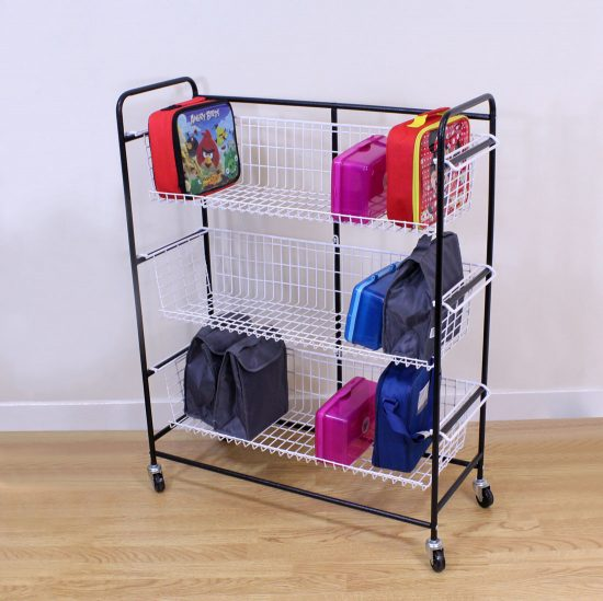 Black Mobile Lunch Box Trolley