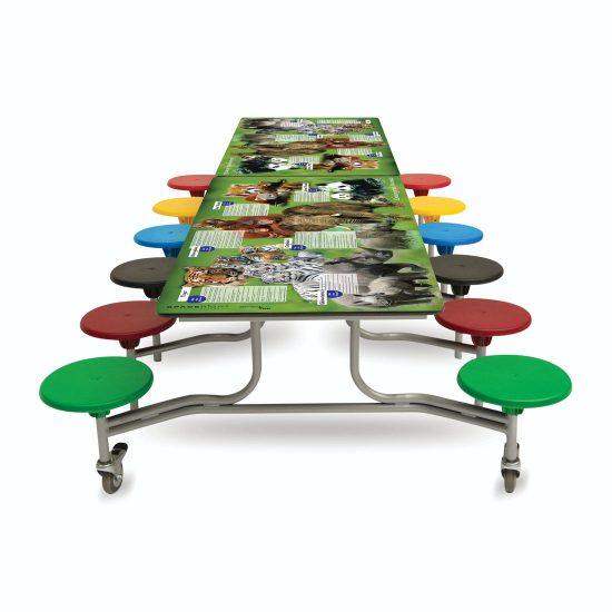 Rectangular Smart Top Mobile Folding Table Seating Unit