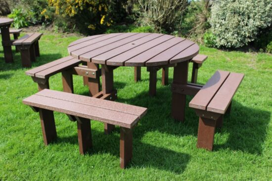 Adult Circular Table Recycled Plastic Picnic Bench