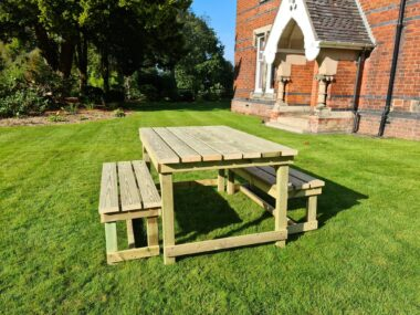 Rustic Timber Table and Bench Set
