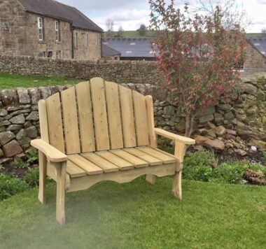 High Angled Back Wooden Bench